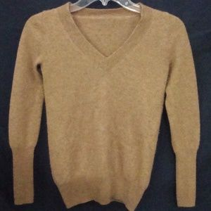 Cashmere Angora Sweater VNeck Tan Long Sleeve